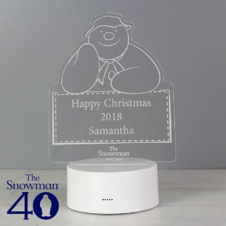 Personalised The Snowman LED Colour Changing Night Light